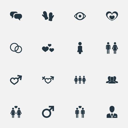 벡터 일러스트 레이 션 간단한 아이콘의 집합입니다. 요소 남성, 딱지, 변호사 및 기타 동의어 여성, 소년 및 사람들.