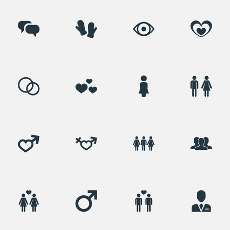 Vector Illustration Set Of Simple  Icons. Elements Male, Mitten, Barrister And Other Synonyms Female, Boy And People.