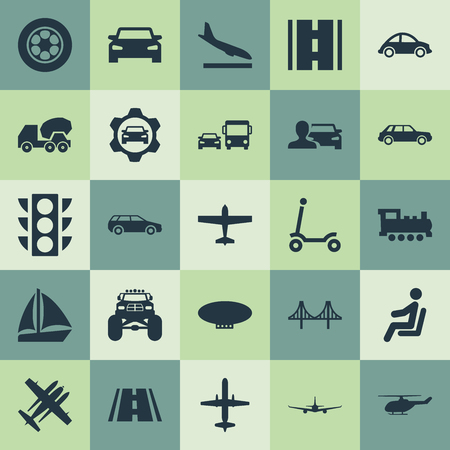 Vector Illustration Set Of Simple Shipment Icons. Elements Driver, Highway, Sedan And Other Synonyms Plane, Public And Yacht.