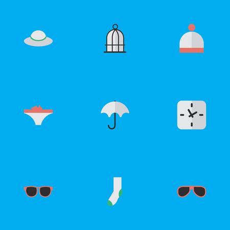 Illustration vectorielle définie des icônes d'équipement simple. Éléments Casquette féminine, Lunettes, Parasol et autres synonymes Réchauffer, temps et lunettes de soleil. Banque d'images - 83529217