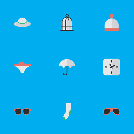 Vector Illustration Set Of Simple Equipment Icons. Elements Female Cap, Glasses, Parasol And Other Synonyms Warm, Time And Sunglasses.