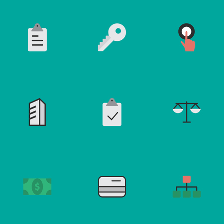 Vector Illustration Set Of Simple Trade Icons. Elements Structure, Clipboard, Pay And Other Synonyms Graph, Building And Finger. Ilustração