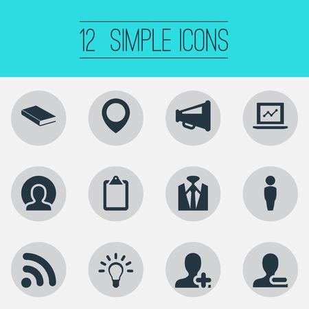 Vector illustratie Set van eenvoudige mensen iconen. Elementen Verwijder Cantact, Human, Luidspreker en andere synoniemen verwijderen, Style en Clipborard.