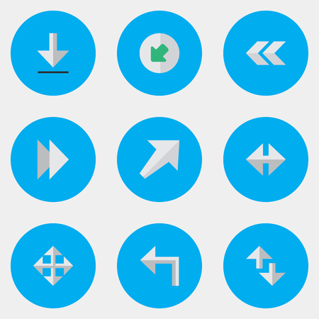 벡터 일러스트 레이 션 간단한 표시기 아이콘의 집합입니다. 요소 커서, 노스 웨스트, 표시기 및 기타 동의어 Rearward, Loading and Export. 스톡 콘텐츠 - 83529220