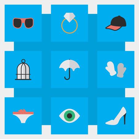 벡터 일러스트 레이 션 간단한 악기 아이콘의 집합입니다. 요소 새장, 스포츠 모자,보기 및 기타 동의어 파라솔, 뒤꿈치 및 반지. 일러스트
