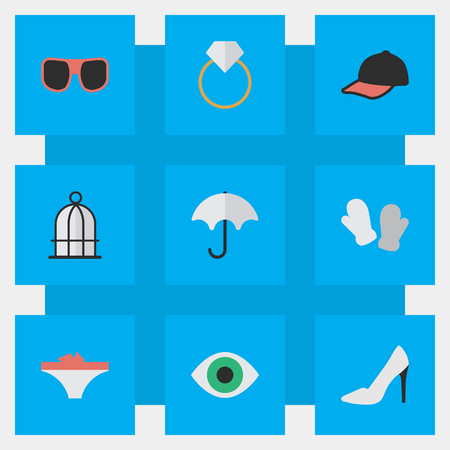Vector Illustration Set Of Simple Instrument Icons. Elements Birdcage, Sport Hat, View And Other Synonyms Parasol, Heel And Ring. Illustration