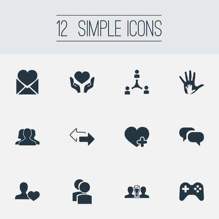 Vector Illustration Set Of Simple Fellows Icons. Elements Gossip, Helpful, Add And Other Synonyms Plus, Hand And Camaraderie.