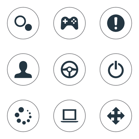 Vector Illustration Set Of Simple Game Icons. Elements Profile Picture, Circles, Shut Down And Other Synonyms Circles, Arrow And Steering.