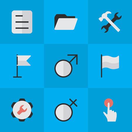 벡터 일러스트 레이 션 간단한 디자인 아이콘의 집합입니다. 요소 배너, 여성, 스위치 손잡이 및 다른 동의어 배너, 문서 및 단추입니다. 일러스트