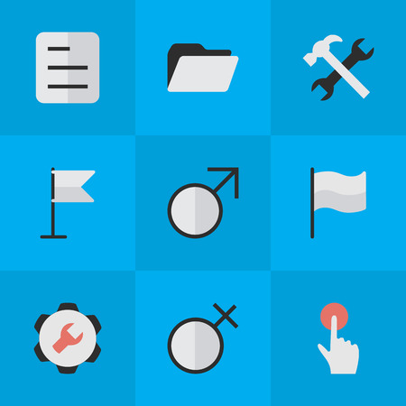 Vector Illustration Set Of Simple Design Icons. Elements Banner, Female, Switch Knob And Other Synonyms Banner, Document And Button.