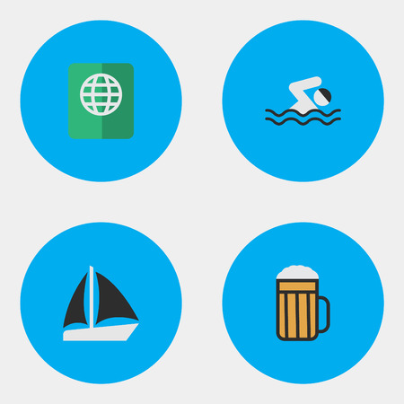 Vector Illustration Set Of Simple Vacation Icons. Elements Certificate, Schooner, Pool And Other Synonyms Pool, Pub And Certificate.