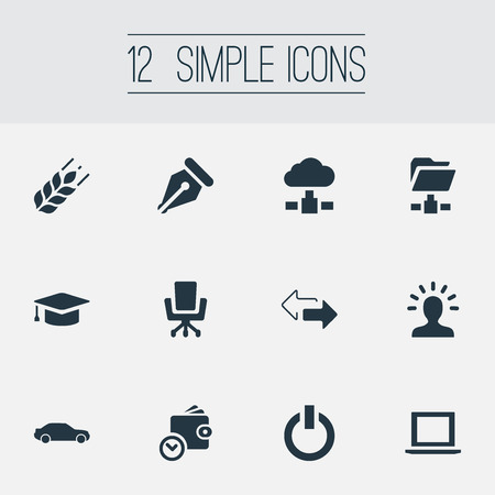 Vector Illustration Set Of Simple Business Icons. Elements Wallet, Automobile, Folder Network And Other Synonyms Hatchback, Wallet And Arrow. Illustration