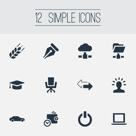 Vectorillustratiereeks Eenvoudige Bedrijfspictogrammen. Elementen portemonnee, auto, map netwerk en andere synoniemen Hatchback, portemonnee en pijl.