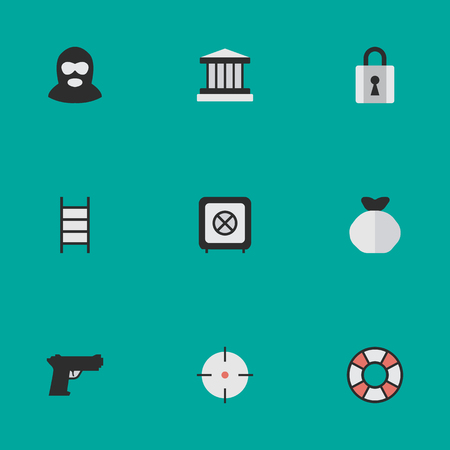 Vector Illustration Set Of Simple Offense Icons. Elements Moneybox, Target, Lifesaver And Other Synonyms Closed, Save And Burglar.