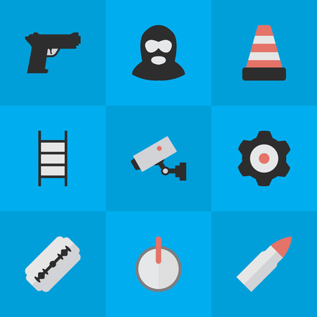 Vector Illustration Set Of Simple Crime Icons. Elements Stairs, Blade, Criminal And Other Synonyms Supervision, Burglar And Lock. Illusztráció
