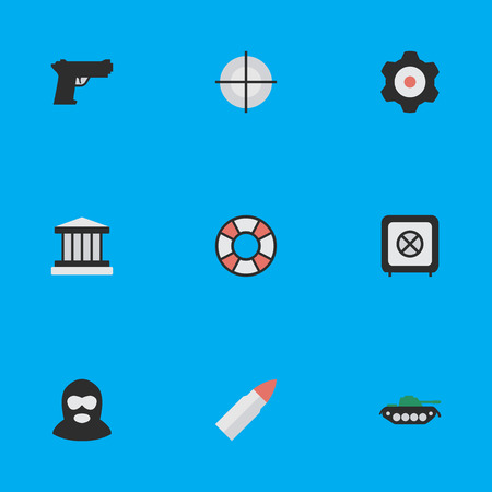 Vector Illustration Set Of Simple Crime Icons. Elements Grille, Lifesaver, Cogwheel And Other Synonyms Burglar, Armored And Tank.
