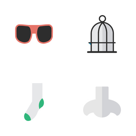 Vector Illustration Set Of Simple Accessories Icons. Elements Sock, Smell, Birdcage And Other Synonyms Prison, Birdcage And Scent. Illustration