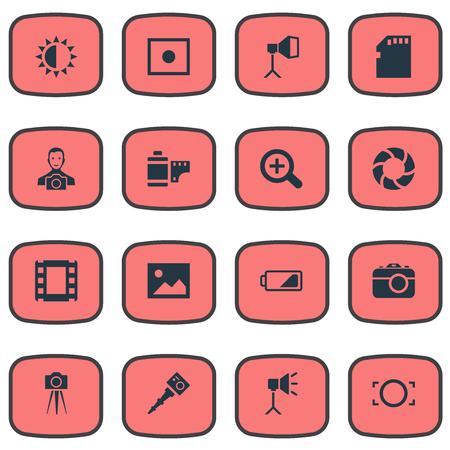 Vector illustratie Set van eenvoudige foto iconen. Elementen Lens, energie, apparaten Fotograaf en andere draagbare, fotograaf en vergrotende synoniemen.