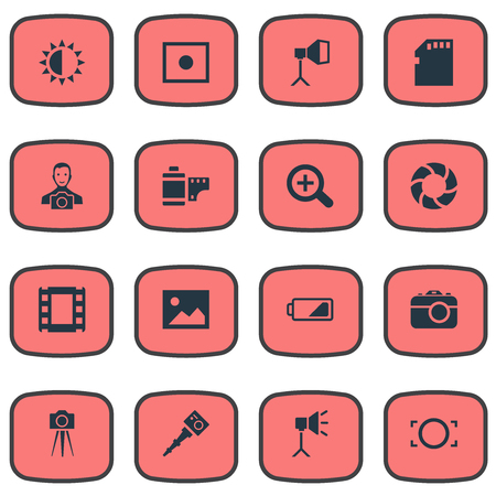 Vector Illustration Set Of Simple Photograph Icons. Elements Lens, Energy, Apparatus Photographer And Other Synonyms Portable, Photographer And Magnifying.