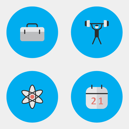 Vector Illustration Set Of Simple Knowledge Icons. Elements Briefcase, Date Block, Bodybuilding And Other Synonyms Weight, Lifter And Almanac.