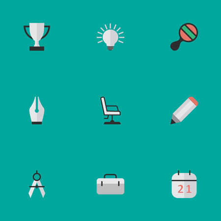 Vector Illustration Set Of Simple Knowledge Icons. Elements Armchair, Bulb, Racket And Other Synonyms Drawing, Pencil And Goblet.