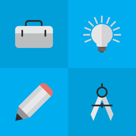 diameter: Vector Illustration Set Of Simple Knowledge Icons. Elements Measurement Dividers, Pen, Briefcase And Other Synonyms Light, Idea And Bulb. Illustration