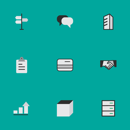 Vector Illustration Set Of Simple Business Icons. Elements Square, Clipboard, Direction And Other Synonyms Square, Hands And Humans. Illustration