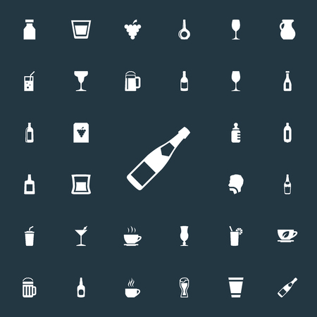 Vector Illustration Set Of Simple Drinks Icons. Elements Beer, Fizzy, Cappuchino And Other Synonyms Baby, Water And Drink. Çizim