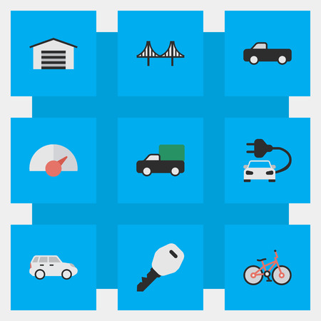 Vector Illustration Set Of Simple Transportation Icons. Elements Charge, Pickup, Open And Other Synonyms Bridgework, Bike And Jumper. Illustration