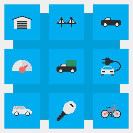 Vector Illustration Set Of Simple Transportation Icons. Elements Charge, Pickup, Open And Other Synonyms Bridgework, Bike And Jumper. Ilustração