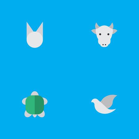 벡터 일러스트 레이 션 간단한 동물 아이콘의 집합입니다. 요소 Kine, 거북이, 고양이 및 기타 동의어 Sweet, Cow And Animal.