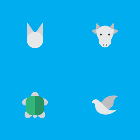 Vector Illustration Set Of Simple Animals Icons. Elements Kine, Tortoise, Cat And Other Synonyms Sweet, Cow And Animal.