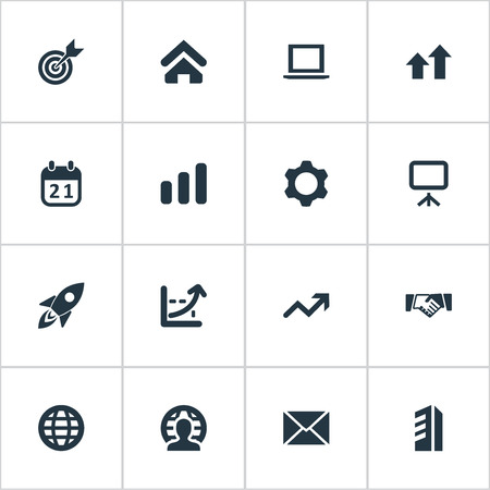 Vector Illustration Set Of Simple Startup Icons. Elements Line Graph, Gear, Envelope And Other Synonyms Gear, Handshake And Letter.