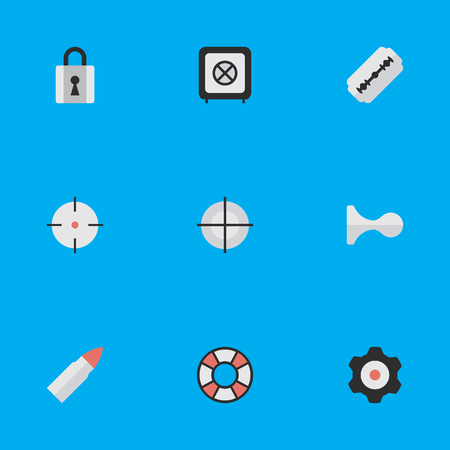 Vector Illustration Set Of Simple Crime Icons. Elements Target, Blade, Hunting And Other Synonyms Horns, Blade And Vault. Illustration