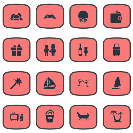 Vector Illustration Set Of Simple Festal Icons. Elements Cocktail, Wallet, Children And Other Synonyms Fir, Gift And Sailing. Ilustracja