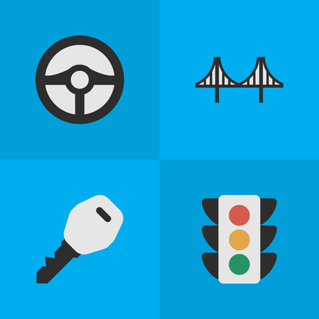 Vector Illustration Set Of Simple Transportation Icons. Elements Traffic Lights, Steering, Open And Other Synonyms Lighter, Lock And Jumper.