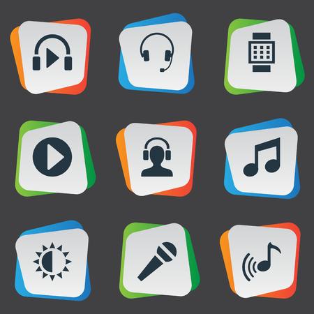 シンプルなマルチ メディア アイコンのベクター イラスト セット。要素手首デバイス、マイク、Meloman、その他のシノニムの調整マイクとカラオケ。
