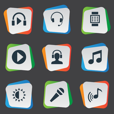Vector Illustration Set Of Simple Multimedia Icons. Elements Wrist Device, Mike, Meloman And Other Synonyms Adjustment, Mike And Karaoke. Illustration