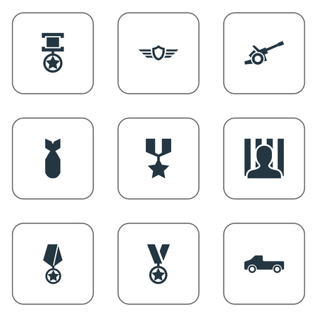 Vector Illustration Set Of Simple War Icons. Elements Rocket, Remuneration, Trophy And Other Synonyms Bombshell, Suv And Automobile. Illustration