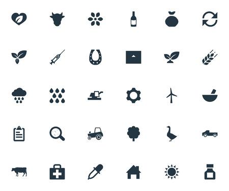 insolación: Ilustración vectorial Conjunto de iconos de agricultura simple. Elementos de vehículos agrícolas, aves de corral, brotes y otros sinónimos de fertilizantes, ingeniería y actualización.