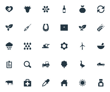 Vector Illustration Set Of Simple Agriculture Icons. Elements Farm Vehicle, Poultry, Sprout And Other Synonyms Fertilizer, Engineering And Refresh.