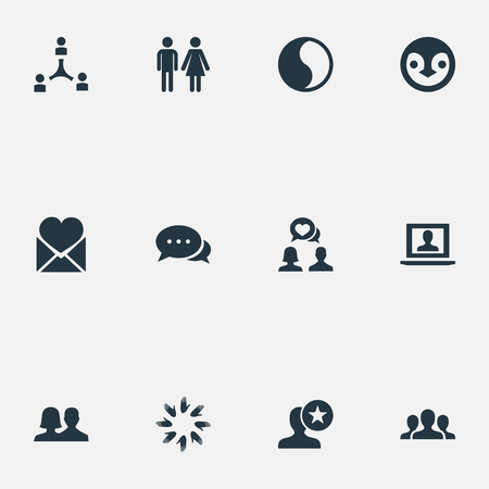 簡単な仲間のアイコンのベクトル イラスト セット。最愛の要素、トーク、ペンギン、他の同義語と結婚、コラボレーションとプロファイル。