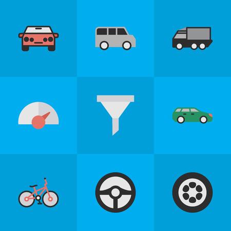 Illustrazione vettoriale Set di icone di traffico semplice. Elementi Riciclare, Auto, Camion e Altri sinonimi Pneumatico, contatore e ruota. Archivio Fotografico - 83529272