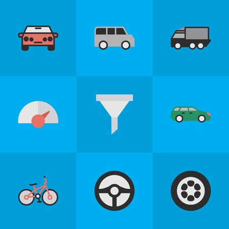 Vector Illustration Set Of Simple Traffic Icons. Elements Recycle, Auto, Lorry And Other Synonyms Tire, Counter And Wheel.