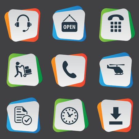 Vectorillustratiereeks Eenvoudige Techniekpictogrammen. Elementen kiezen telefoonnummers, luchtlevering, oproep en andere synoniemen luchthaven, knoppen en oortelefoon.