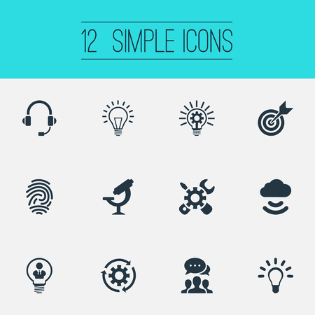 Vector Illustration Set Of Simple Invention Icons. Elements Idea, Remote Storage, Target And Other Synonyms Intercommunication, Microscope And Biometric.