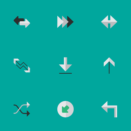 Vector Illustration Set Of Simple Cursor Icons. Elements Orientation, Arrow, Up And Other Synonyms Forward, Shuffle And Import.