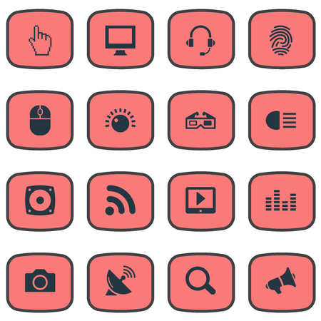 Vector Illustration Set Of Simple Gadget Icons. Elements Volume Control, Loudspeaker, Satellite Antenna And Other Synonyms Bar, Magnifier And Signal.