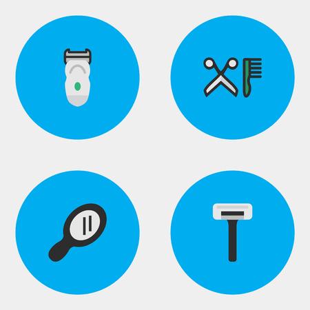シンプルなショップ アイコンのベクター イラスト セット。要素のシェーバー、電子、櫛や類義語かみそり、電子美容師。