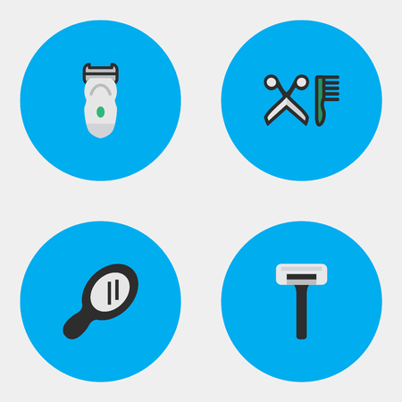 Vector Illustration Set Of Simple Shop Icons. Elements Shaver, Electronic, Comb And Other Synonyms Razor, Electronic And Hairdresser. Illustration